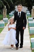 Wendy van Dijk en Erland Galjaard zijn getrouwd op Ibiza in het Agroturismo Atzaró . Agroturismo Atzaró bevindt zich in een sinaasappelboomgaard op het platteland van Ibiza. Dit mooie, landelijke hotel beschikt over een klein buitenzwembad en een kleine spa. <br /> <br /> Op de foto: <br />  Kinderen van Wendy van Dijk - Zoon Sem en dochter Lizzy
