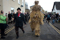 © Licensed to London News Pictures.11/01/2013. London, UK. A man dressed in straw bear costume is being led throughout Whittlesea during the annual Straw Bear Festival in Whittlesea. The origins of festival dates back to the 19th century. The first sighting of Whittlesea's famous straw bear was back in 1882 and after a break of 71 years the current ritual was revived back in 1980.<br /> . Photo credit : Peter Kollanyi/LNP
