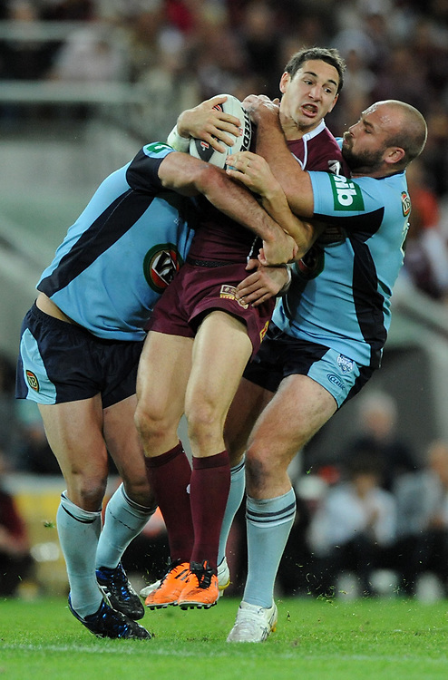 July 6th 2011: Billy Slater of the Maroons is tackled during game 3 of the 2011 State of Origin series at Suncorp Stadium in Brisbane, QLD, Australia on July 6, 2011. Photo by Matt Roberts / mattrimages.com.au / QRL