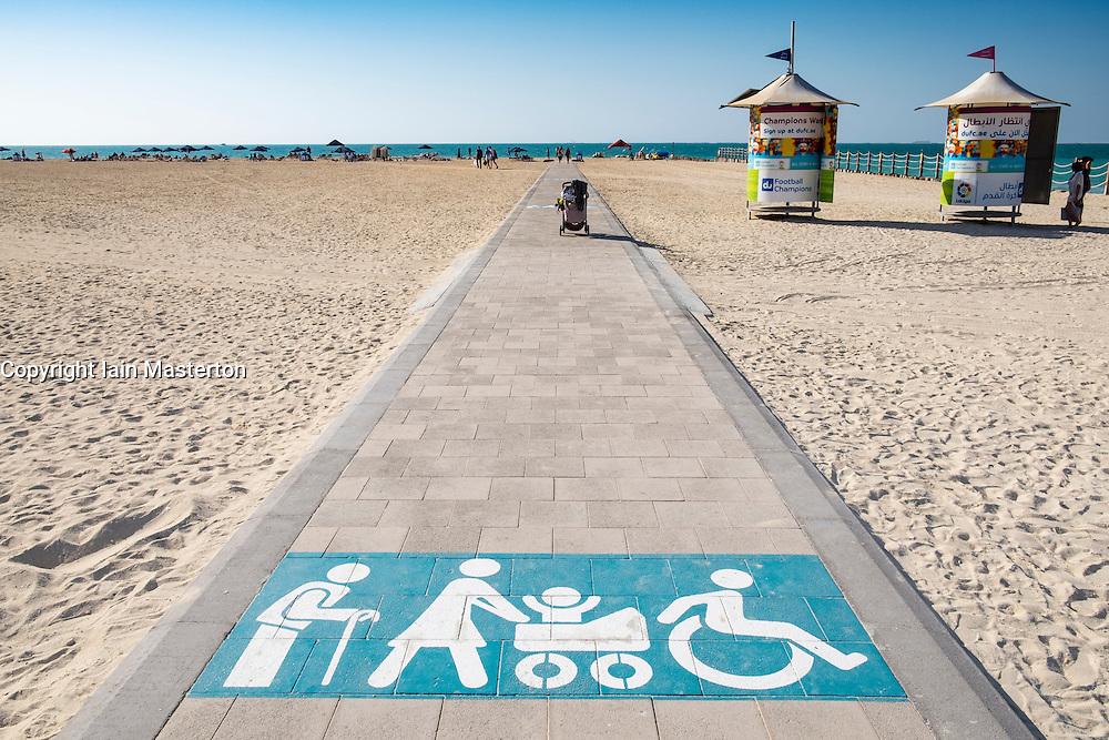 Disabled access ramp onto public swimming beach in Dubai United Arab Emirates