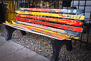 Bench made of skis, Telluride, Colorado USA