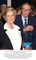 LORD & LADY FAIRHAVEN at a lectrure in London on 13th May 2002.OZX 40