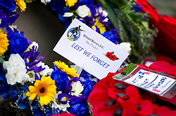Bristol Rovers wreath is laid at the Memorial gates - Mandatory byline: Dougie Allward/JMP - 07966 386802 - 11/11/2015 - Memorial Stadium - Bristol, England- Memorial Service