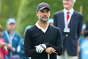 Pep Guardiola eyes up the 1st hole during the Celebrity Pro-Am day at Wentworth Club, Virginia Water, United Kingdom on 23 May 2018. Picture by Phil Duncan.