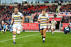 Sam Lewis and Ryan Mills of Worcester Warriors run out to face Sale Sharks at The AJ Bell Stadium - Mandatory by-line: Robbie Stephenson/JMP - 09/09/2018 - RUGBY - AJ Bell Stadium - Manchester, England - Sale Sharks v Worcester Warriors - Gallagher Premiership