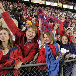 22 November 2008: Ole Miss fans celebrate in the stands following the Ole Miss Rebels 31-13 victory over the LSU Tigers at Tiger Stadium in Baton Rouge, LA.