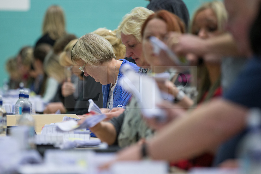 © Licensed to London News Pictures . 10/10/2014 . Heywood , UK . The recount at the count at the Heywood and Middleton by-election , following the death of sitting MP Jim Dobbin . Photo credit : Joel Goodman/LNP
