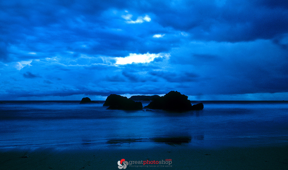 Costa Rica Manuel Antonio Beach At Night Rocks With Reflection