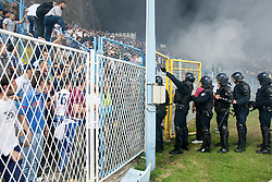 Armada, fans of HNK Rijeka and Cops during football match between HNK Rijeka and HNK Hajduk Split in 11th Round of Prva Hrvaska Nogometna Liga MaxTV 2013/14 on September 28, 2013 in Stadion Kantrida, Rijeka, Croatia. (Photo By Urban Urbanc / Sportida.com)