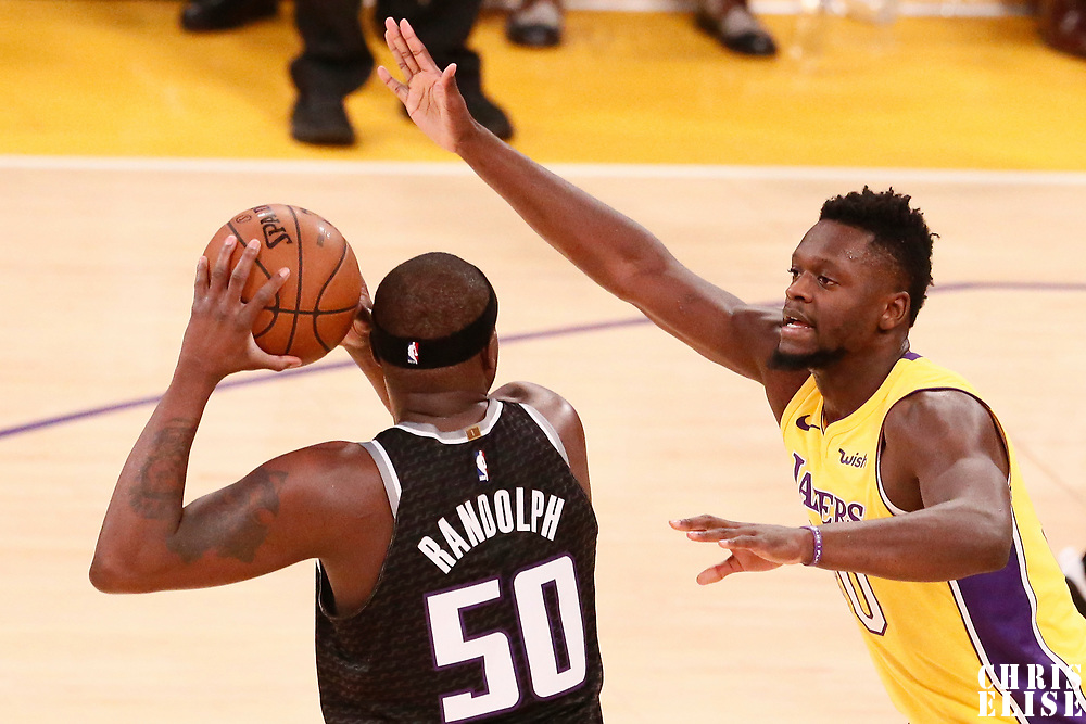 09 January 2018: Los Angeles Lakers forward Julius Randle (30) defends on Sacramento Kings forward Zach Randolph (50) during the LA Lakers 99-86 victory over the Sacramento Kings, at the Staples Center, Los Angeles, California, USA.