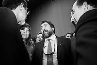 Palermo, Italy, 25 October 2012: Marshal of Carabinieri and Director of CESD Onlus Calogero Di Carlo (center), 53, talks to candidate for Governor of Sicily Nello Musumeci (left), 57  at the Astoria Palace Hotel during his campaign in Palermo, on October 25 2012. Between them is ex Governor of the Lazio region Renata Polverini, 50. Marshal Calogero di Carlo was under investigation for bribery in the trial to the so-called moles in the Palermo Antimafia directorate. Renata Polverini, 50, resigned a month ago in the wake of a political finance scandal that includes accusations of the misuse of public money.<br /> <br /> The direct elections in Sicily for the President of the Region and its representatives will take place on Sunday 28 October 2012, 6 months ahead of the end of the terms of office of the current legislature. The anticipated election of October 28 take place after Raffaele Lombardo, former governor of Sicily since 2008, resigned on July 31st. Raffaele Lombardo is under investigation since 2010 for Mafia ties. His son Toti Lombardo is currently running for a seat in the Sicilian Regional Assembly in the coalition of Gianfranco Micciché, a candidate for the Presidency of the Region. 32 candidates belonging to 8 of the 20 parties running for the Sicilian elections are either under investigation or condemned. ### Palermo, Italia, 25 ottobre 2012: Il maresciallo dei carabinieri e direttore del CESD Onlus Calogero di Carlo (centro), 53 anni, con il candidato alla Presidenza della Regione Nello Musumeci (sinistra), 57 anni, all'Astoria Palace Hotel durante la sua campagna elettorale a Palermo, Italia, il 25 ottobre 2012. Il maresciallo dei carabinieri Calogero Di Carlo è stato indagato per concussione nel processo Talpe alla Dda di Palermo. Tra di loro l'ex Presidente della Regione Lazio Renata Polverini, 50 anni, la quale ha rassegnato le dimissioni dopo essere stata coinvolta in uno scandalo sulla gestione del denaro pubblico. <br /> <br /> Le elezioni in Sic