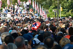 view on the crowd gathered at an outdoor event with President Barack Obama as he stumps in support of Democratic Presidential candidate Hillary Clinton at a September 13, 2016 rally at the foot of the Art Museum Steps in Philadelphia, Pennsylvania.