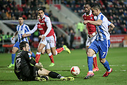 Lewis Price (Rotherham United) makes a save from Brighton & Hove Albion central midfielder Beram Kayal (7) during the EFL Sky Bet Championship match between Rotherham United and Brighton and Hove Albion at the AESSEAL New York Stadium, Rotherham, England on 7 March 2017. Photo by Mark P Doherty.