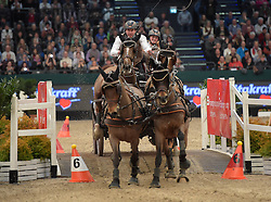 17.01.2016, Neue Messe, Leipzig, GER, FEI World Cup Driving, im Bild Fahrer Koos de Ronde (NED) // during the FEI World Cup Driving at the Neue Messe in Leipzig, Germany on 2016/01/17. EXPA Pictures © 2016, PhotoCredit: EXPA/ Eibner-Pressefoto/ Modla<br /> <br /> *****ATTENTION - OUT of GER*****