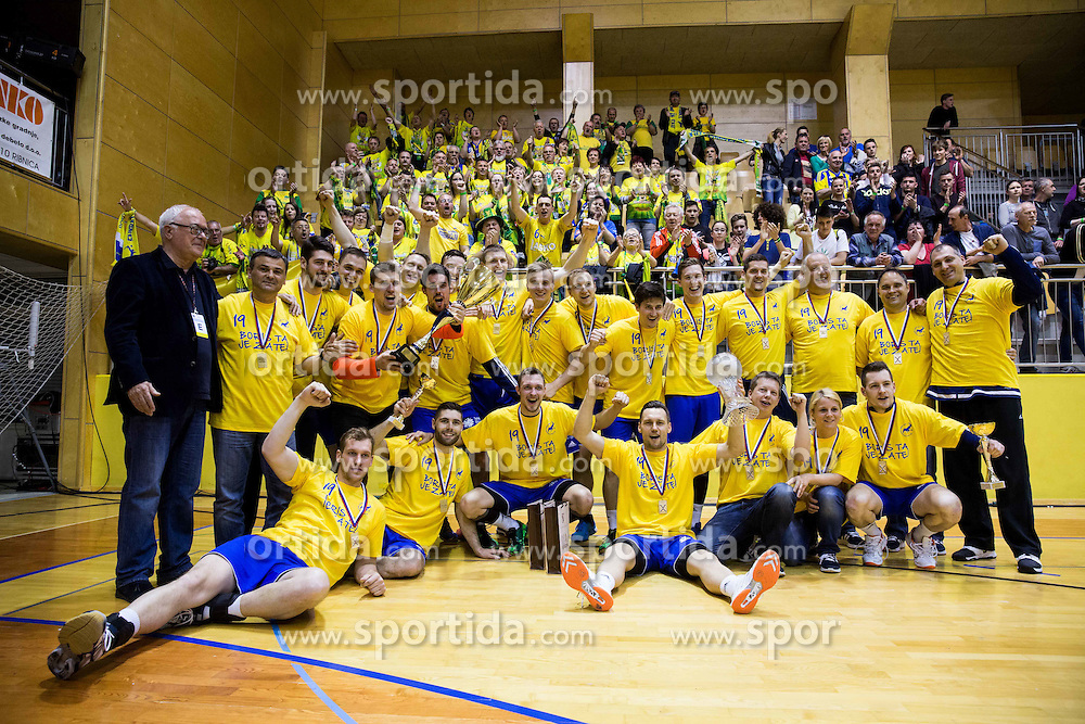 Players of Celje celebrate after winning during handball match between RK Celje Pivovarna Lasko and RD Koper 2013 in Final of Slovenian Men Handball Cup 2015/16, on April 17, 2016 in Ribnica, Slovenia. Photo by Vid Ponikvar / Sportida