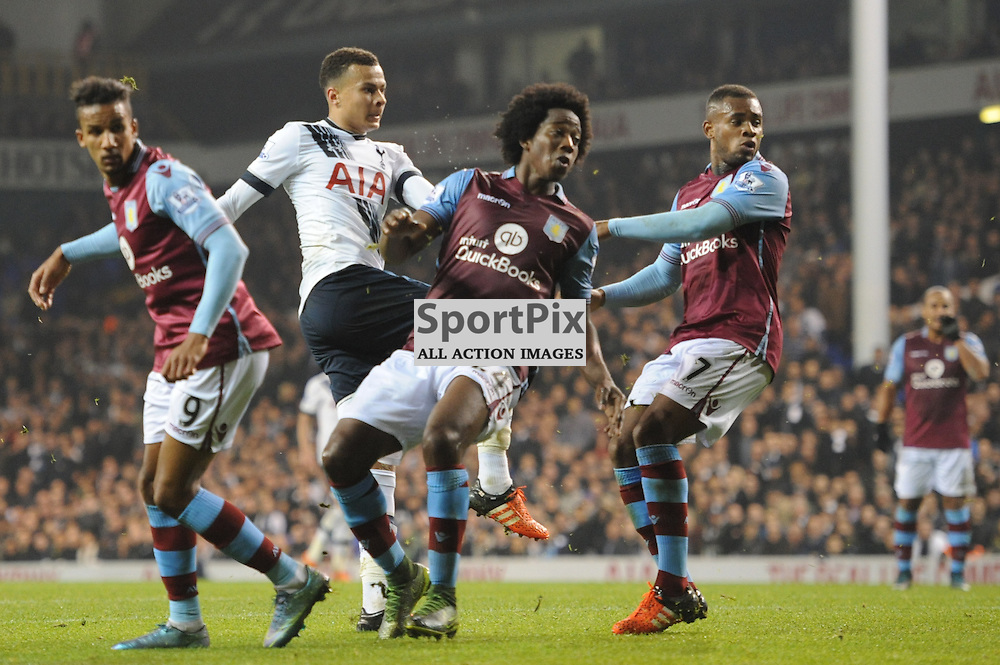 Tottenhams Dele Alli scores to put his side 2-0 up during the Tottenham v Aston Villa match in the Barclays Premier League on the 2nd November 2015