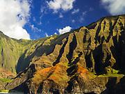 View of Kauai's Na Pali Coast, taken from a boat.