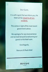Signs of the Corona Virus. Mercure Hotel Sheffield closed to all Non Residents in the fight against the Covid-19 Pandemic<br /> Monday 22 March 2020<br /> <br /> www.pauldaviddrabble.co.uk<br /> All Images Copyright Paul David Drabble - <br /> All rights Reserved - <br /> Moral Rights Asserted -