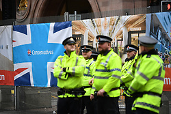 © Licensed to London News Pictures. 30/09/2017. Manchester, UK. Heavy security at the conference centre and Midland Hotel in Manchester ahead of the Conservative Party Conference which starts on Sunday at Manchester Central. There have been conflicts within the conservative party and government over the UK's approach to Brexit, which is expected to feature heavily at this years event. Photo credit: Ben Cawthra/LNP