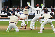 Somerset fielders unsuccessfully appeals for the wicket of Alastair Cook of Essex during the Specsavers County Champ Div 1 match between Somerset County Cricket Club and Essex County Cricket Club at the Cooper Associates County Ground, Taunton, United Kingdom on 26 September 2019.
