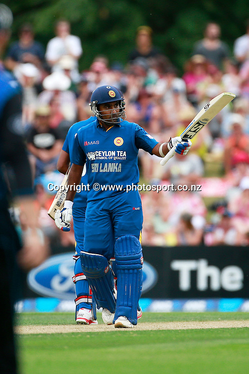 Mahela Jayawardene of Sri Lanka raises his bat after reaching his half century during the first ODI between the Black Caps v Sri Lanka at Hagley Oval, Christchurch. 11 January 2015 Photo: Joseph Johnson / www.photosport.co.nz