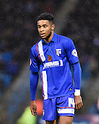 Gillingham goalscorer Dominic Samuel during the Sky Bet League 1 match between Gillingham and Bury at the MEMS Priestfield Stadium, Gillingham, England on 14 November 2015. Photo by David Charbit.