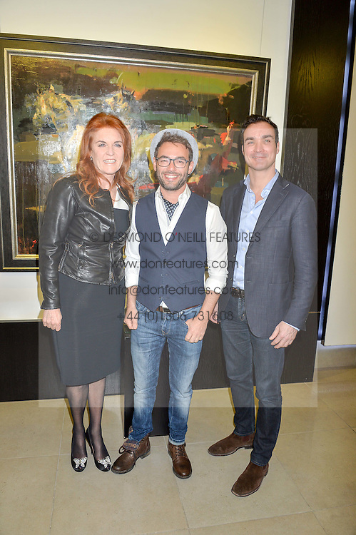 Left to right, SARAH, DUCHESS OF YORK, artist CHRISTIAN HOOK and MANUEL FERNANDEZ at a private view of work by Christian Hook in aid of Children in Crisis held at Clarendon Fine Art, 46 Dover Street, London on 17th March 2016.