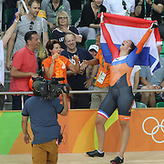 Track Cycling - Olympics: Day 8   Elis Ligtlee of The Netherlands with family and team members in the crowd after winning the gold medal in the Women's Keirin Final during the track cycling competition at the Rio Olympic Velodrome August 12, 2016 in Rio de Janeiro, Brazil. (Photo by Tim Clayton/Corbis via Getty Images)