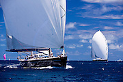 Sojana and Twizzle sailing in the Caribbean Superyacht Regatta and Rendezvous, race 1.