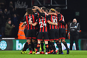 Goal - Joshua King (17) of AFC Bournemouth is mobbed after scoring a goal to give a 3-0 lead to the home team during the Premier League match between Bournemouth and Chelsea at the Vitality Stadium, Bournemouth, England on 30 January 2019.
