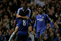 Photo: Marc Atkins.<br /> Chelsea v Aston Villa. Carling Cup. 08/11/2006.<br /> Andriy Shevchenko celebrates scoring for Chelsea with Frank Lampard & Didiier Drogba.