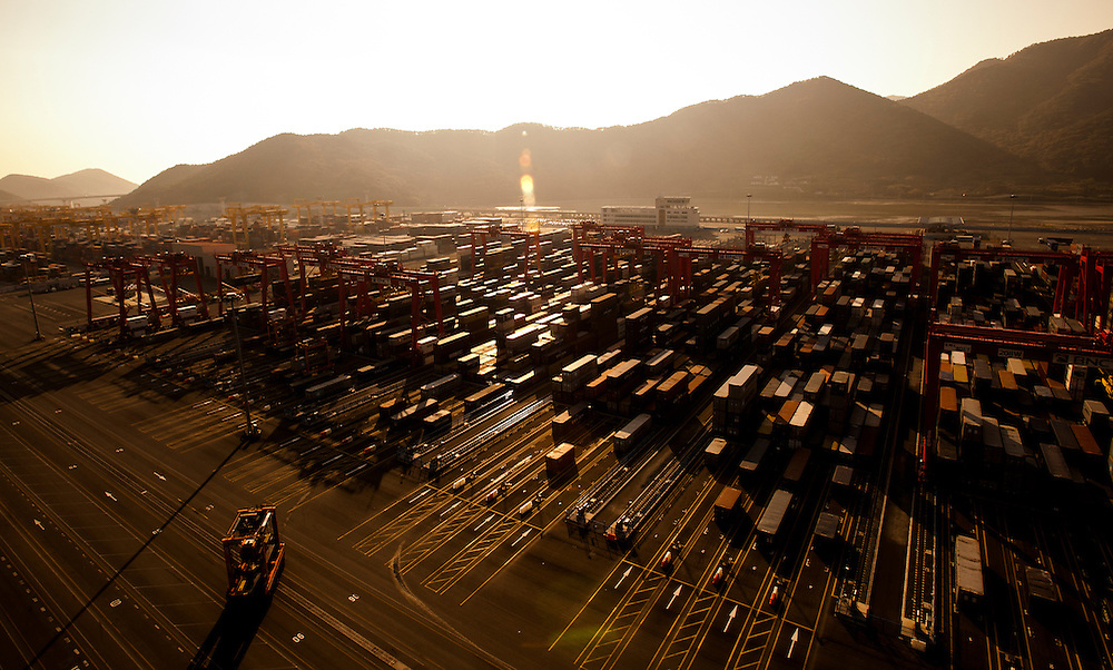 Thousands of container boxes are seen at Busan New Container Terminal.