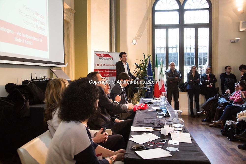 Bologna 14 Marzo 2015 Area riformista del PD si incontra a Bologna per discutere delle riforme proposte dal Governo e della legge elettorale<br /> Nella Foto: Maurizio Martina Ministro dell'Agricoltura