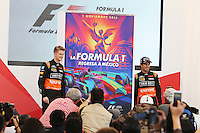 (L to R): Nico Hulkenberg (GER) Sahara Force India F1 and team mate Sergio Perez (MEX) Sahara Force India F1 at a press conference.<br /> Autodromo Hermanos Rodriguez Circuit Visit, Mexico City, Mexico. Thursday 22nd January 2015.