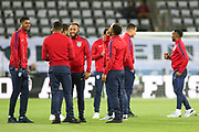Marcus Rashford and England players in warm up during the International Friendly match between Germany and England at Signal Iduna Park, Dortmund, Germany on 22 March 2017. Photo by Phil Duncan.