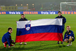 Slovenian flag during EURO 2012 Qualifications game between National teams of Slovenia and Northern Ireland, on March 29, 2011, in Windsor Park Stadium, Belfast, Northern Ireland, United Kingdom. (Photo by Vid Ponikvar / Sportida)