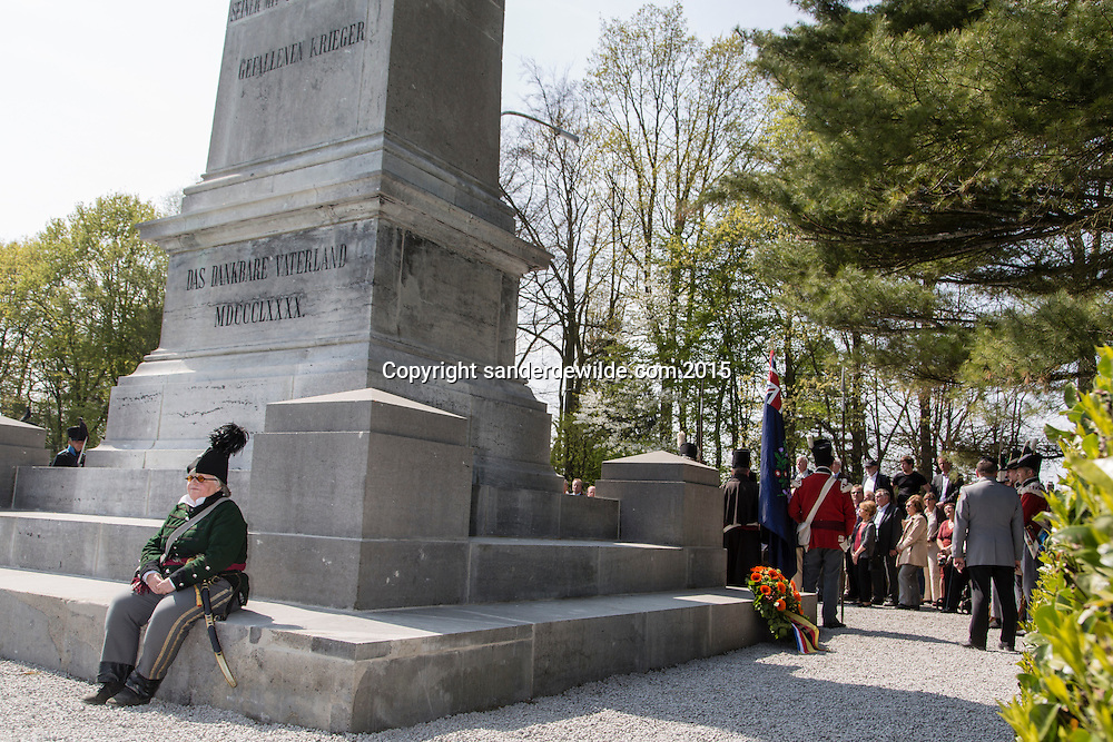 24/04/2015  Belgium GENAPPE - Monument Brunswick has been restored with private and federal funds for the bicentennial of the battle of Waterloo where Napoleon was defeated by the allies 200 years ago. german embassador dr. Eckart Cuntz. and others were at the momument to celebrate it's restoration and to remember the battle.