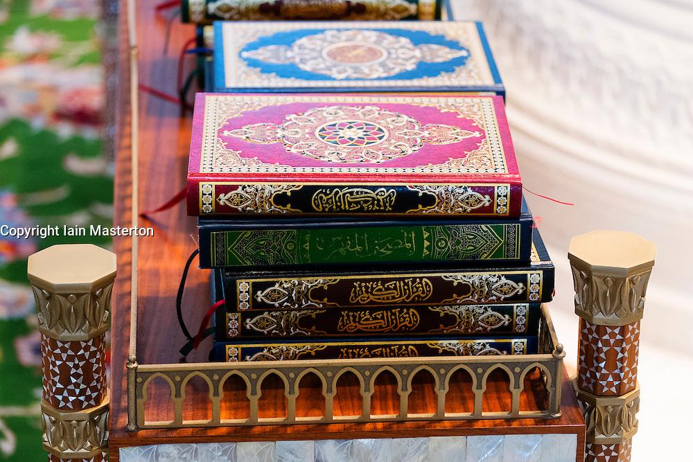 Detail of copies of The Koran inside Sheikh Zayed Grand Mosque in Abu Dhabi United Arab Emirates