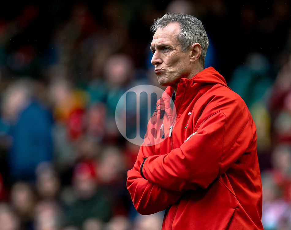 Rob Howley Attack Coach of Wales during the pre match warm up<br /> <br /> Photographer Simon King/Replay Images<br /> <br /> Six Nations Round 5 - Wales v Ireland - Saturday 16th March 2019 - Principality Stadium - Cardiff<br /> <br /> World Copyright © Replay Images . All rights reserved. info@replayimages.co.uk - http://replayimages.co.uk