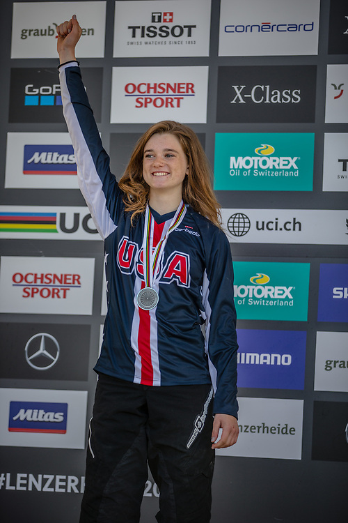 Anna Newkirk (USA) gets second place in the Downhill  Women Junior category at the 2018 UCI MTB World Championships - Lenzerheide, Switzerland