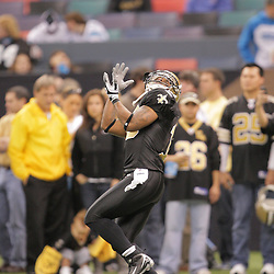2008 December, 28: New Orleans Saints wide receiver Skyler Green (10) catches a pass in warm ups prior to kickoff of a week 17 game between NFC South divisional rivals the Carolina Panthers and the New Orleans Saints at the Louisiana Superdome in New Orleans, LA.