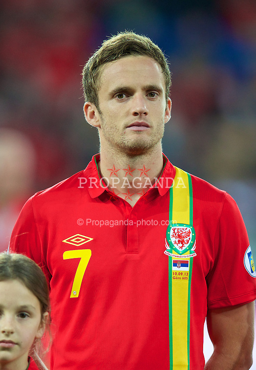 CARDIFF, WALES - Tuesday, September 10, 2013: Wales' Andy King before the 2014 FIFA World Cup Brazil Qualifying Group A match against Serbia at the Cardiff CIty Stadium. (Pic by David Rawcliffe/Propaganda)