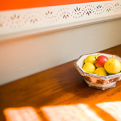 A fruit bowl in the dining room at the Frankiln Pierce Homestead in Hillsborough, New Hampshire.
