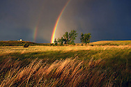 Double rainbow at Buffalo Camp in the Great Plains of Montana at American Prairie Reserve. South of Malta, Montana.