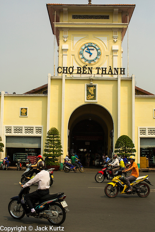 27 MARCH 2012 - HO CHI MINH CITY, VIETNAM:  The entrance to Ben Thanh Market, the main market in Ho Chi Minh City, Vietnam. The market has become the main tourist market. Ho Chi Minh City, which used to be known as Saigon, is the largest city in Vietnam and the commercial hub of southern Vietnam.      PHOTO BY JACK KURTZ