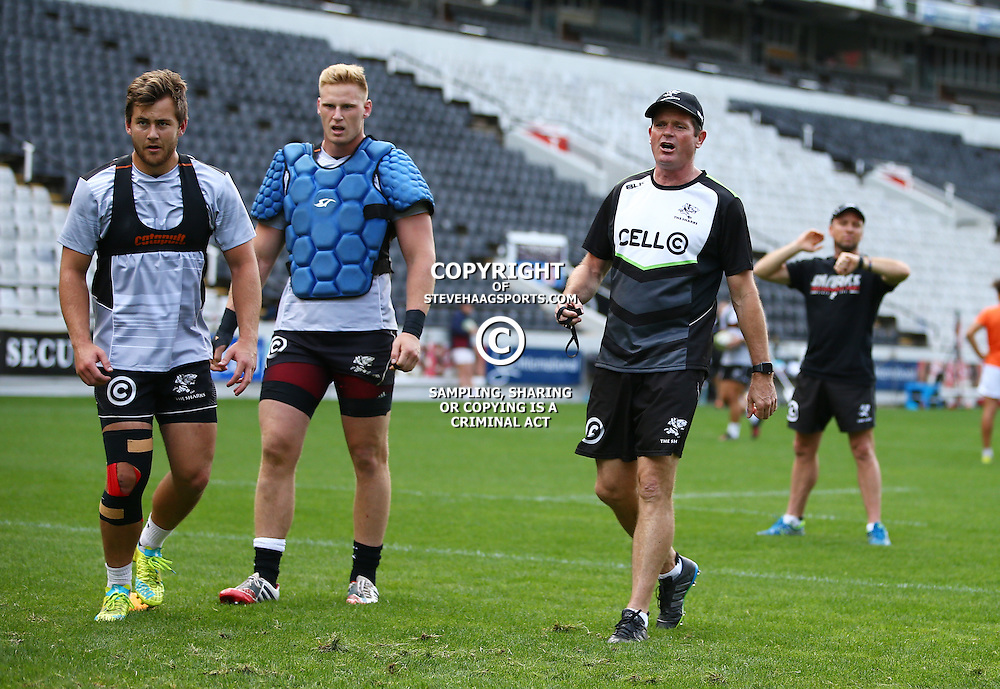 DURBAN, SOUTH AFRICA, 6 September, 2016 - Franco Marais with Jean-Luc du Preez and Sean Everitt (Assistant Coach) of the Cell C Sharks during The Cell C Sharks training session at Growthpoint Kings Park in Durban, South Africa. (Photo by Steve Haag)<br /> <br /> images for social media must have consent from Steve Haag