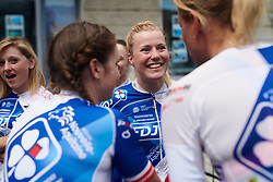 Rozanne Slik (NED) chats\ with her FDJ Nouvelle Aquitaine Futuroscope teammates at Giro Rosa 2018 - Team Presentation in Verbania, Italy on July 5, 2018. Photo by Sean Robinson/velofocus.com