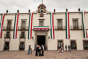The government palace or Casa de la Corregidora along the Plaza de Armas in the old colonial section of Santiago de Queretaro, Queretaro State, Mexico.