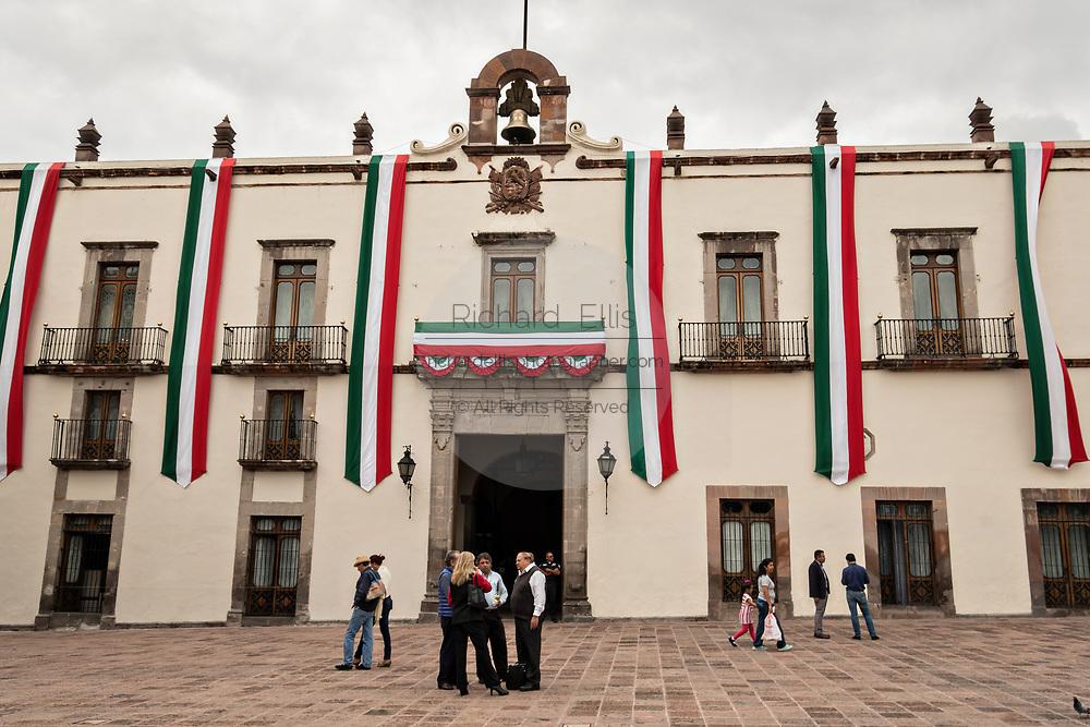 The government palace or Casa de la Corregidora along the Plaza de Armas in the old colonial section of Santiago de Queretaro, Queretaro State, Mexico.