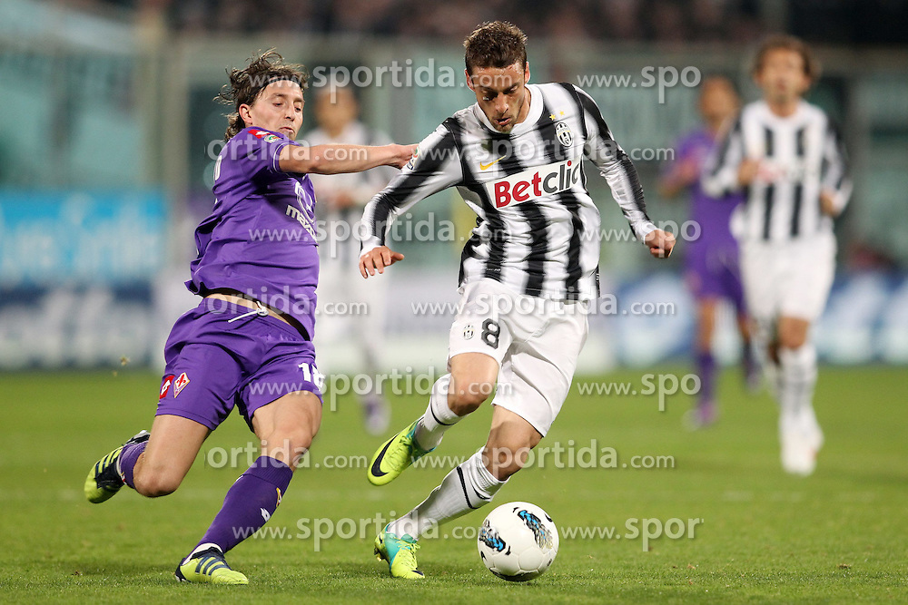17.03.2012, Stadion Artemio Franchi, Florenz, ITA, Serie A, AC Florenz vs Juventus Turin, 28. Spieltag, im Bild Riccardo Montolivo (Fiorentina) CLAUDIO MARCHISIO (Juventus) // during the football match of Italian 'Serie A' league, 28th round, between AC Florenz and Juventus Turin at Stadium Artemio Franchi, Florence, Italy on 2012/03/17. EXPA Pictures © 2012, PhotoCredit: EXPA/ Insidefoto/ Luca Pagliaricci..***** ATTENTION - for AUT, SLO, CRO, SRB, SUI and SWE only *****